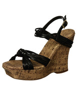 Jessica Simpson Black Brisa Strappy Cork Wedge Heels Shoes   10B - $39.59