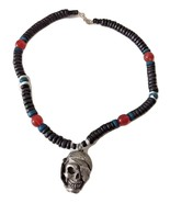 "Black Beaded Caribbean Pewter Pirate Skull Necklace 17"" - $37.99"