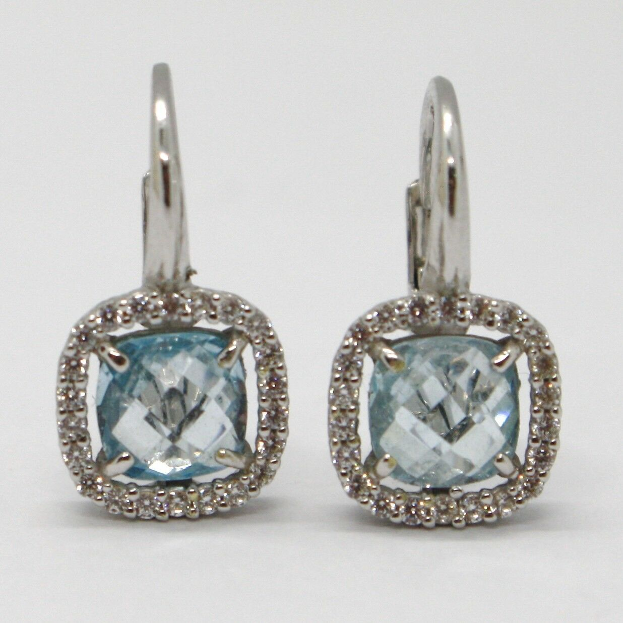 18K WHITE GOLD LEVERBACK EARRINGS CUSHION BLUE TOPAZ, ZIRCONIA FRAME, ITALY MADE