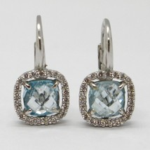 18K WHITE GOLD LEVERBACK EARRINGS CUSHION BLUE TOPAZ, ZIRCONIA FRAME, ITALY MADE image 1