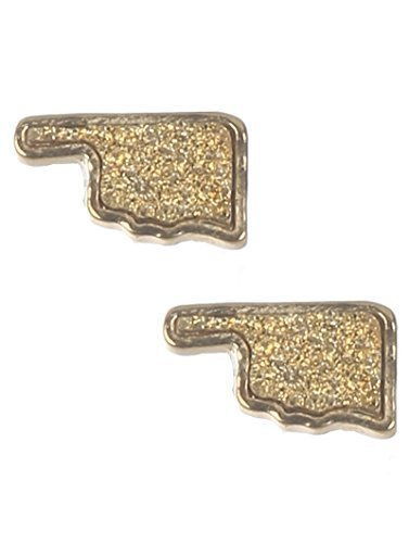 Glitter Bling Oklahoma Pride State Post Earrings (Light Topaz Color)