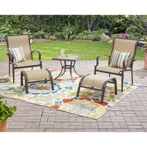 Outdoor Lounge Patio Set Side Table 2 Chair Ottoman 5 Pc Garden Yard Fur... - $245.99