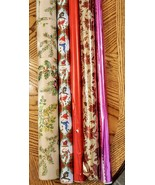 Mixed Lot Christmas Gift Wrap some Vintage Partial Rolls approx 70 sq ft... - $19.77