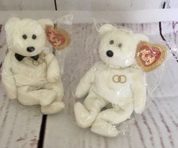Ty Beanie Baby Mr and Mrs Bear Bride and Groom Wedding Teddy Set of 2 - $24.99