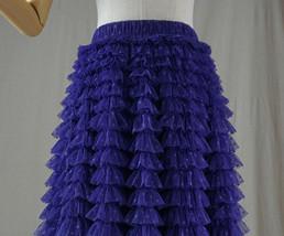Women High Waist Tiered Tulle Skirt Polka Dot Champagne Maxi Tutu Skirt US0-US24 image 12