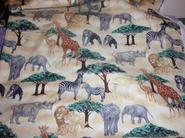 Quilter Fabric Animals Elephant, Giraffe, Monkey, Lion. Tiger, Zebra and... - $4.99