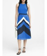 Banana Republic Midi Dress Petite 6P Pleated Chevron Blue Sleeveless Lin... - $69.99