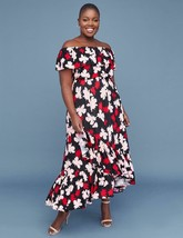 Lane Bryant Women's 18/20 Ruffle Off-The-Shoulder Maxi Dress Pink Floral 2x - $37.17
