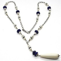 Necklace Silver 925, Lapis Lazuli Blue Disco, Pearls, Pendant Drop image 1
