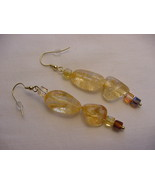 Unique Creations/Ozarks Shimmering Golden Amber Rocks Drop Earrings - $18.00