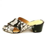 Michael Kors Womans Heeled Slide Sandal Black & White Leather Cushioned  Sz 9 M - $59.39