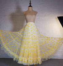 Women Yellow Tulle Maxi Skirt High Waist Floral Tiered Tulle Skirt Plus Size image 3