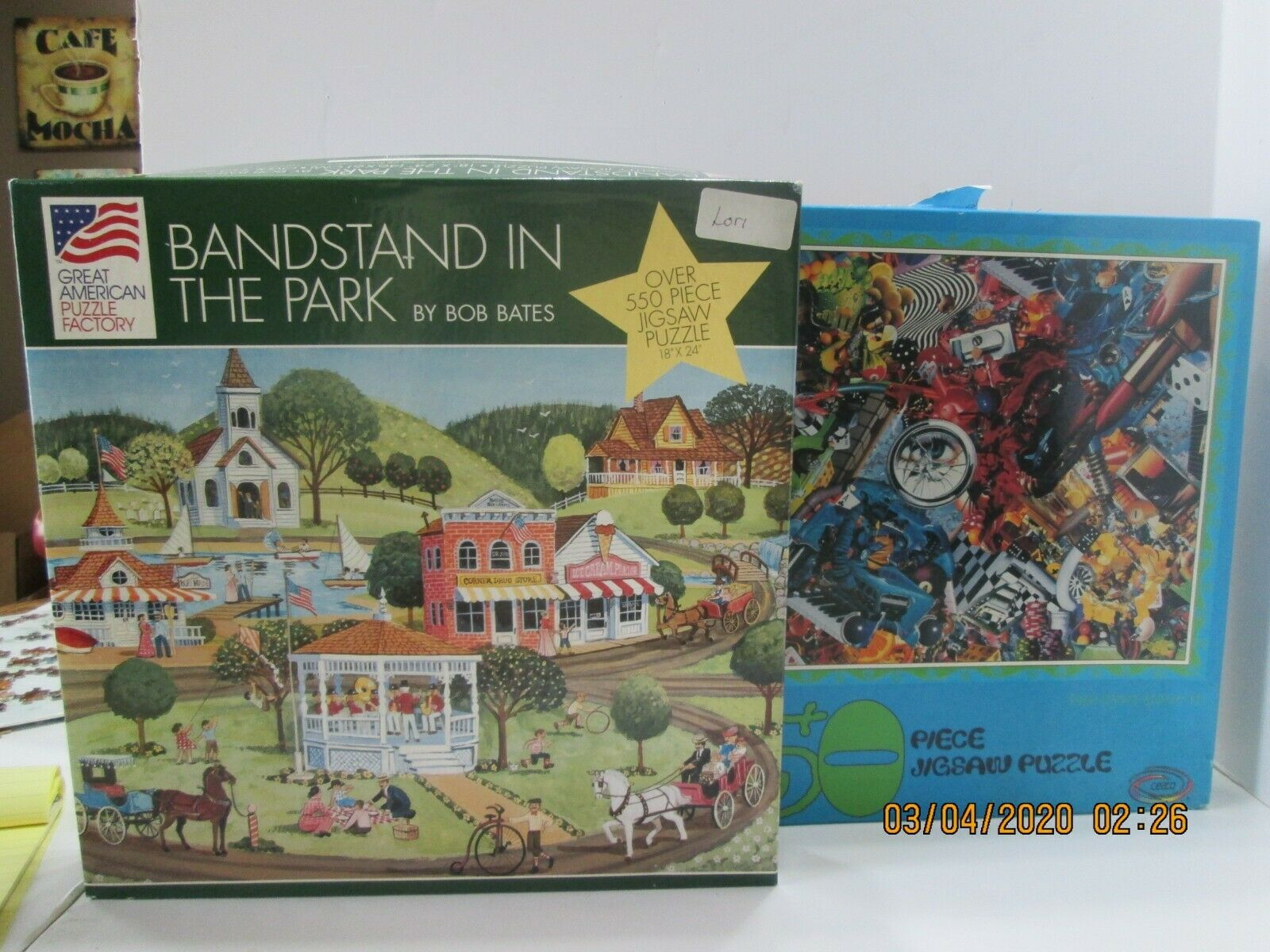 "Primary image for 2 JIgsaw Puzzles ""Bandstand in the Park"" 550 Pc & Ceaco ""The Eyes Have It"" (3)"
