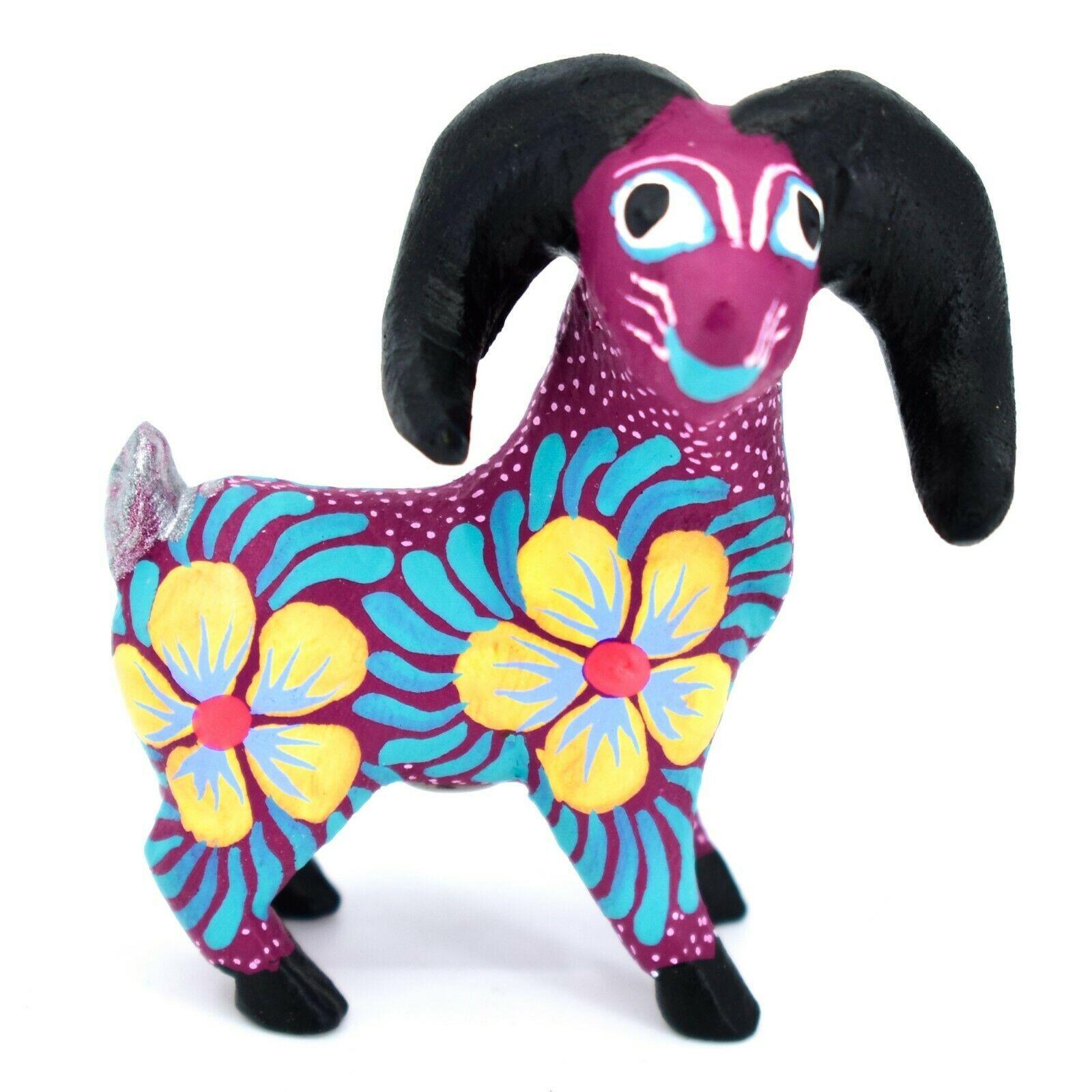 Handmade Alebrijes Oaxacan Copal Wood Painted Folk Art Big Horn Sheep Figurine
