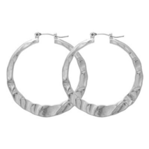 Silver Hammered Hoop Fashion Earrings For Women - $13.16