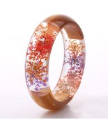 Houbian Retro Wood Dried Flower Bracelet Resin Dried Flower Bracelet for... - $17.34