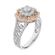 Two Tone Womens Engagement Ring In Solid 925 Silver Double Halo White Di... - $159.99