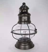 "12"" Lighted Metal & Glass Hurricane Lantern w/Timer Battery Operated - $26.68"