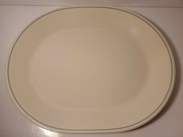 "Corelle Blue Lily Sandstone With Blue Trim 12"" Oval Serving Platter - $15.99"