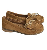 Lucky Brand Suede Penny Loafer Shoes women 6 brown tan Kiltie dress flats - $29.69