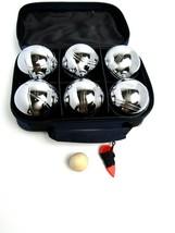 6 ball 73mm Metal Boules / Petanque set - 6 silver balls (stripes) - New... - $59.35