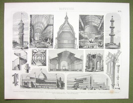 ARCHITECTURE Exhibition Halls Crystal Palaces New York - 1870s Engraving... - $16.20