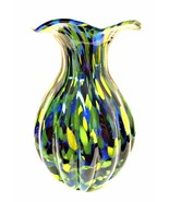 Art Glass Vase Hand Blown Czech Speckle Spatter Confetti Ribbed Design 1... - $176.22