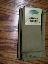 """Four Green Cloth Woven Napkins Sara Lynns Designs 18"""" By 18"""" Square 100%... - $6.99"""