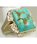 Antique/Vintage Art Deco RARE #8 Mine Turquoise Silver & 10k Gold Men's ... - $420.75