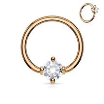 "Captive Lip Ear Daith Ring 16 Gauge 3/8"" Rose Gold Plate w/Clear 3mm Prong Gem - $6.99"