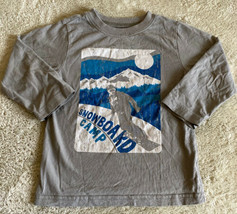 Childrens Place Boys Gray White Blue Snowboard Camp Vintage Long Sleeve ... - $5.48