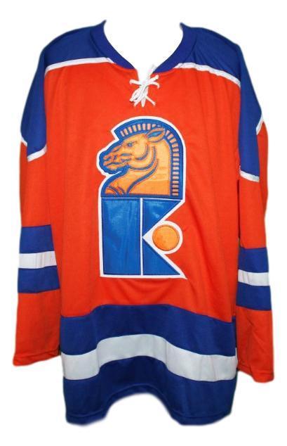 New jersey knights retro hockey jersey norm ferguson orange   1