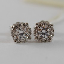 18K WHITE GOLD 7 MM FLOWER SUN EARRINGS WHITE ZIRCONIA 1.4 CARATS MADE IN ITALY image 1