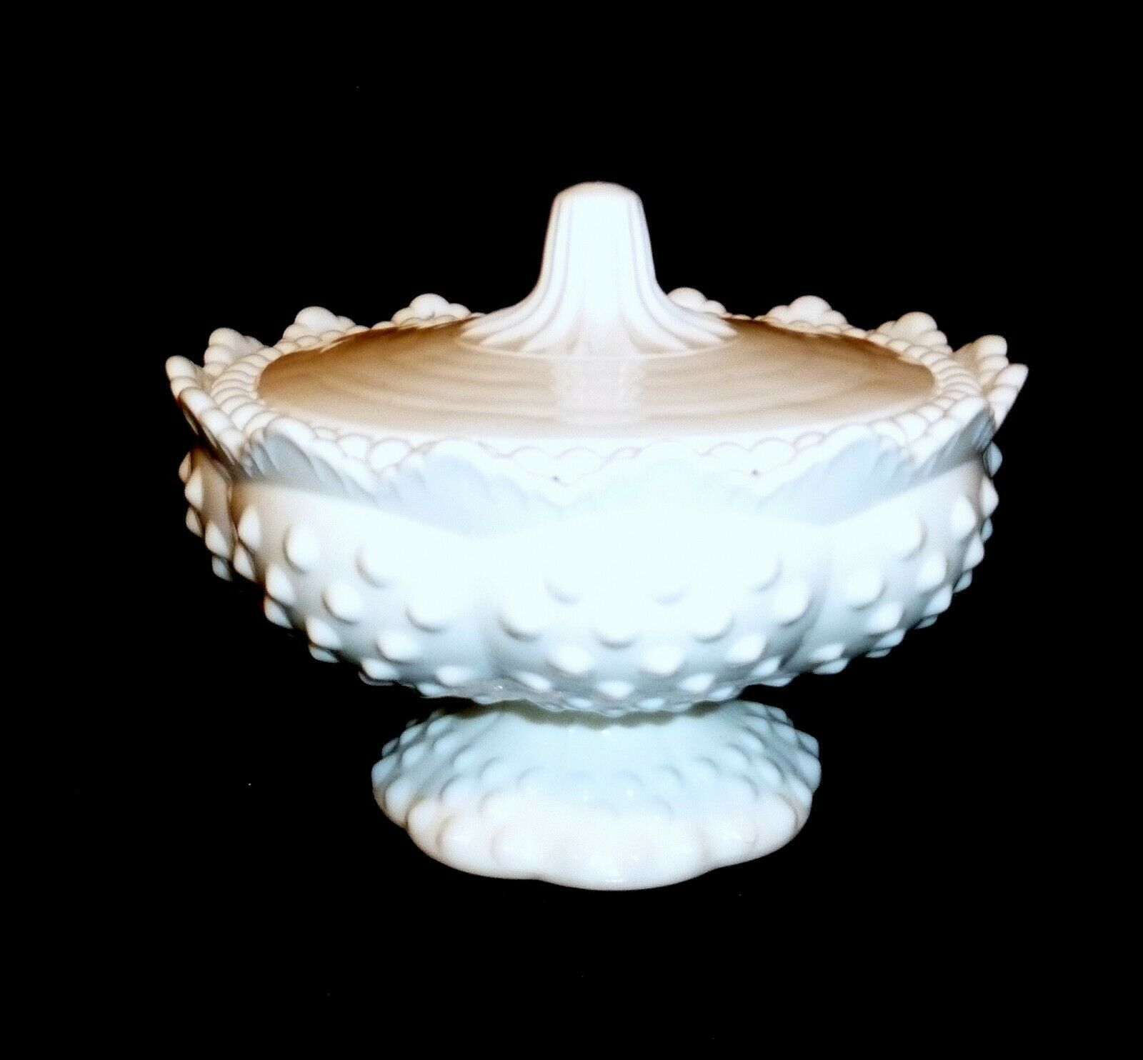 Primary image for FENTON Hobnail w LID White Milk Glass Advent Candle Holder Centerpiece 4 3/4""