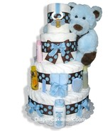 Brown & Blue 4 or 5 Tier Diaper Cake - $130.00