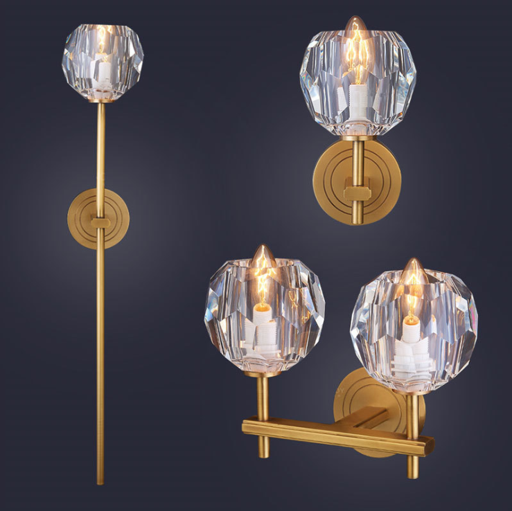 Primary image for Boule de Cristal Single Sconce Brass & Crystal E14 Light Wall Lamp Home Lighting