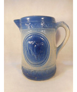 "Antique Blue and White Salt Glaze Stoneware Handled Pitcher 8 1/4"" Tall - $183.15"