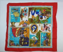 Vintage Colorfast Bandana Handkerchief US History Pioneers Manhattan Gol... - $23.36