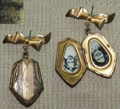 Antique Locket Victorian / Deco Sterling Silver Etched poss Gold Plated ... - $89.99