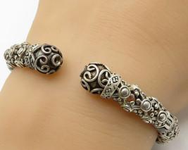 925 Silver - Vintage Swirled Floral Design Hinged Cuff Bracelet - B2633 - $94.64