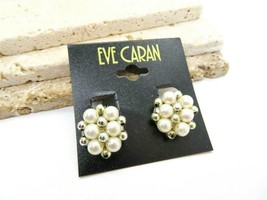 Vintage Eve Caran White Faux Pearl Silver Bead Cluster Clip On Earrings ... - $11.04