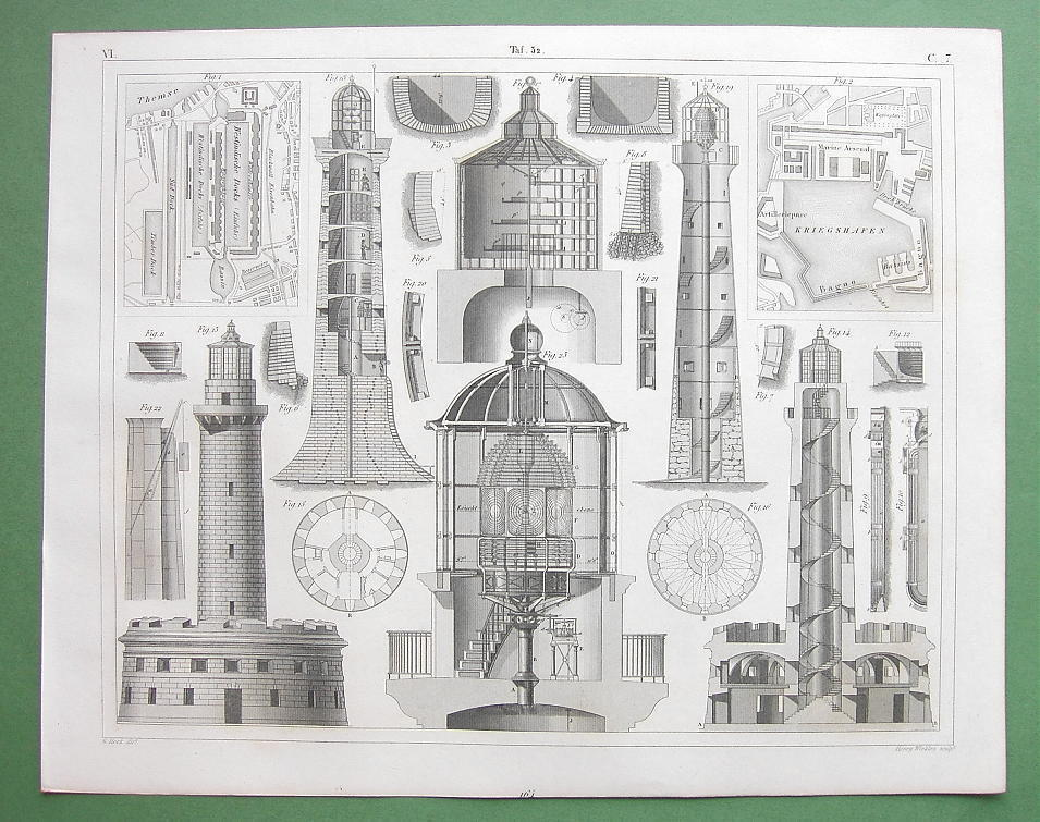 LIGHTHOUSE & Docks Bell Rock Trieste Brmuda London - SUPERB 1844 Antique Print