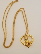 "Vintage 1992 Avon Gold Tone Cat Kitten In A Heart Pendant Necklace 26"" - $15.99"