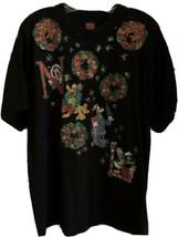 Vintage 90s Disney Mickey Unlimited Christmas Noel Wreaths T-Shirt Size ... - $20.19