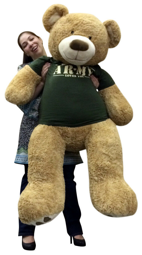Primary image for Giant 5 Foot Teddy Bear Wearing Army T-shirt SOMEONE IN THE ARMY LOVES YOU