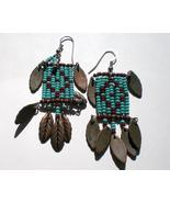 Turquoise Red Beaded copper leaves dangle pierc... - $14.00