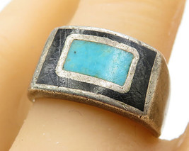 925 Sterling Silver - Vintage Antique Inlay Onyx & Turquoise Ring Sz 9 -... - $56.93