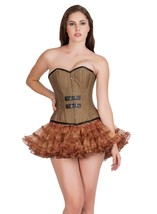 Brown Cotton Black Leather Piping Steampunk tutu Skirt Overbust Corset Dress - $69.57