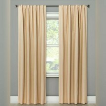 Threshold Small Check 99.9% Blackout Tan One Panel Window Curtain 50x84 - $19.62