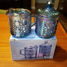 Blue Carvival Glass Lidded Sugar Bowl & Creamer Indiana Glass Windsor w ... - $28.98